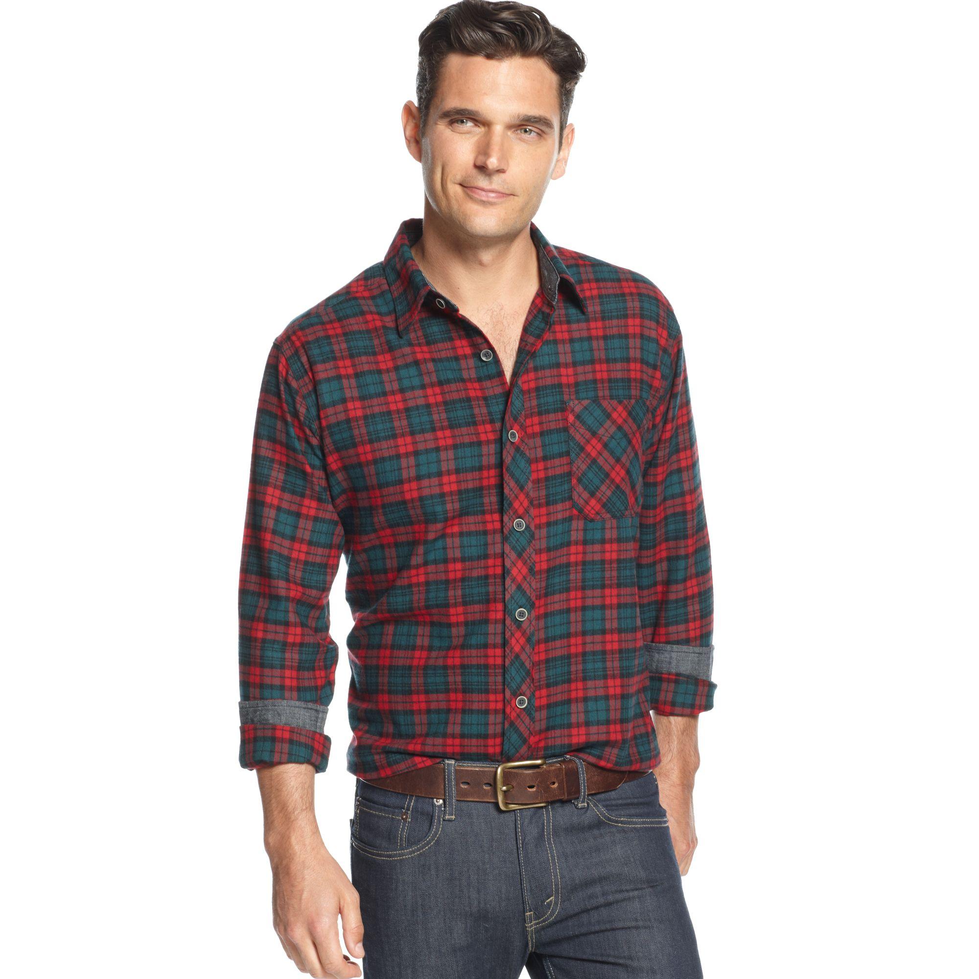 Lyst weatherproof longsleeve tartan plaid flannel shirt for Weatherproof vintage men s lightweight flannel shirt
