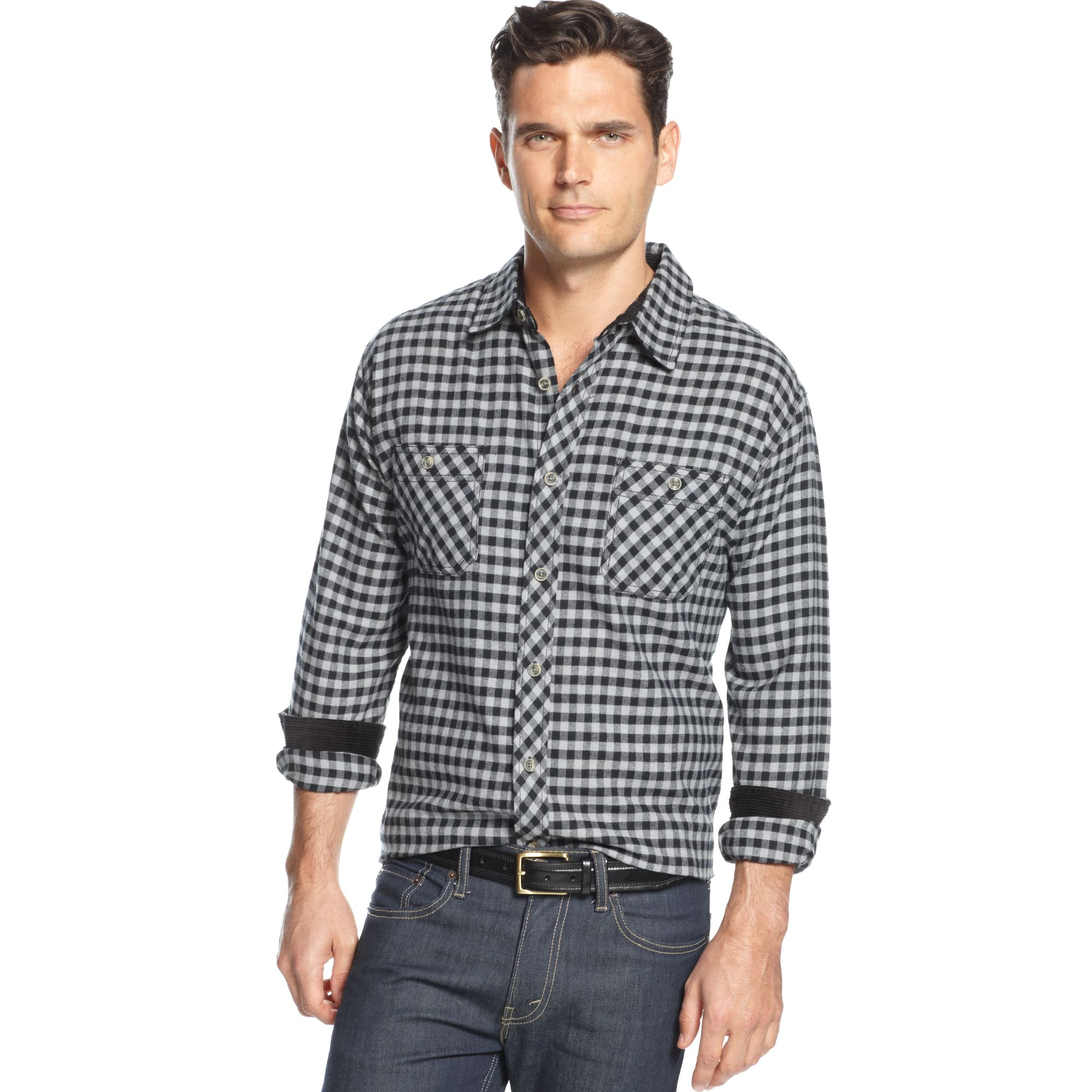 Weatherproof longsleeve corduroy trim brushed flannel for Weatherproof vintage men s lightweight flannel shirt