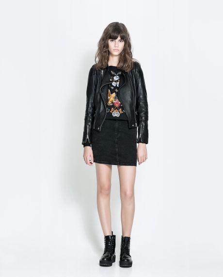 zara denim midi skirt in black lyst