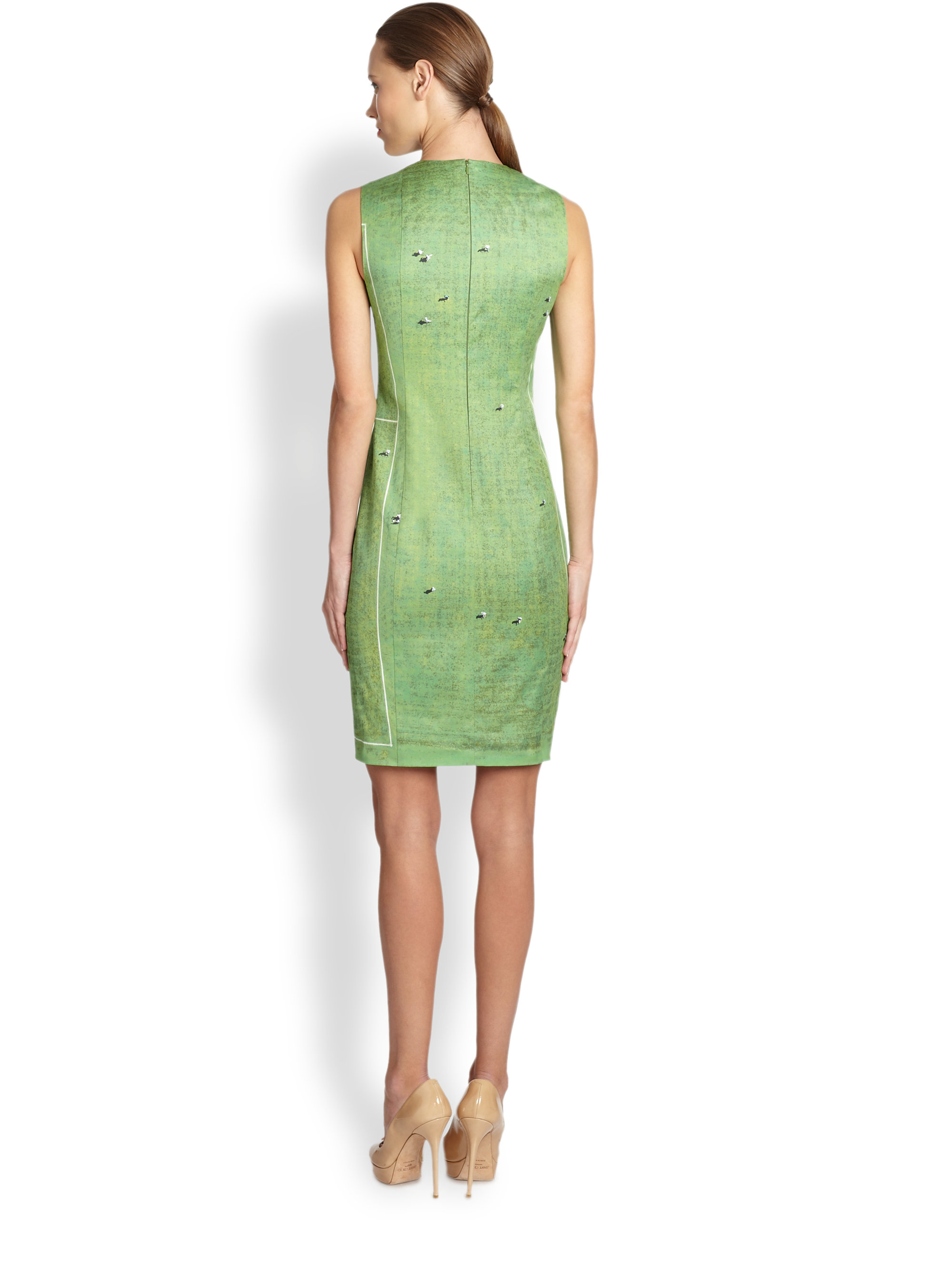 akris punto soccer print dress in green lyst