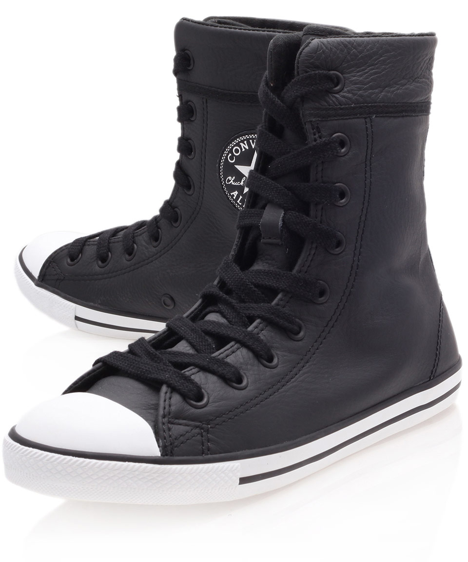 Converse Black Chuck Taylor Dainty Leather Hi Top Trainers