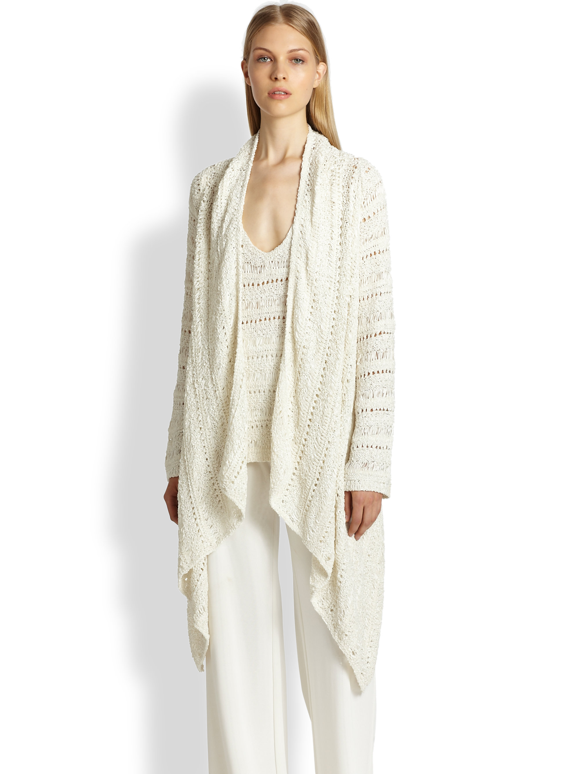 Donna karan new york silk ribbon cozy cardigan in white for Donna karen new york