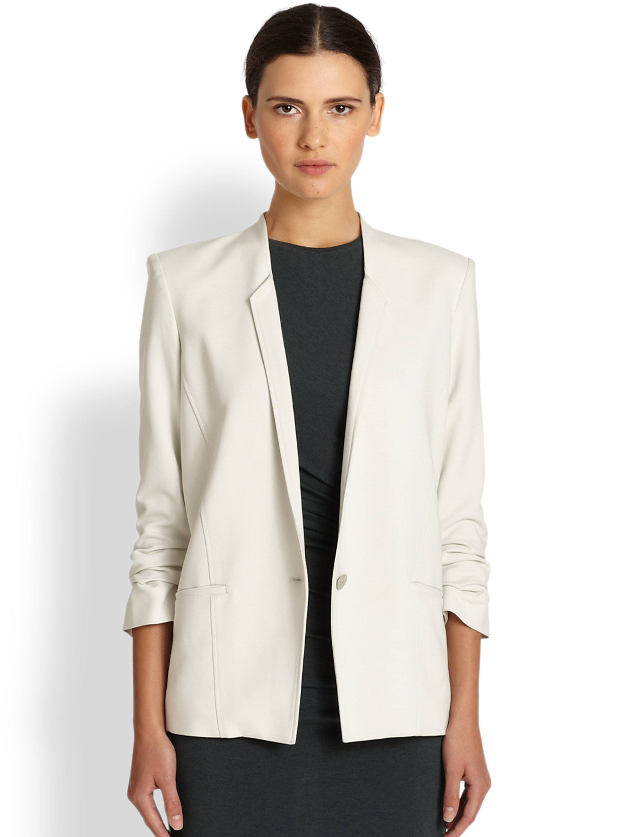 Lyst Helmut Lang Ruched Sleeve Blazer In White