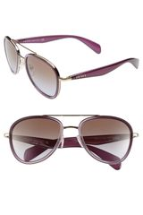 Prada 53mm Aviator Sunglasses - Lyst