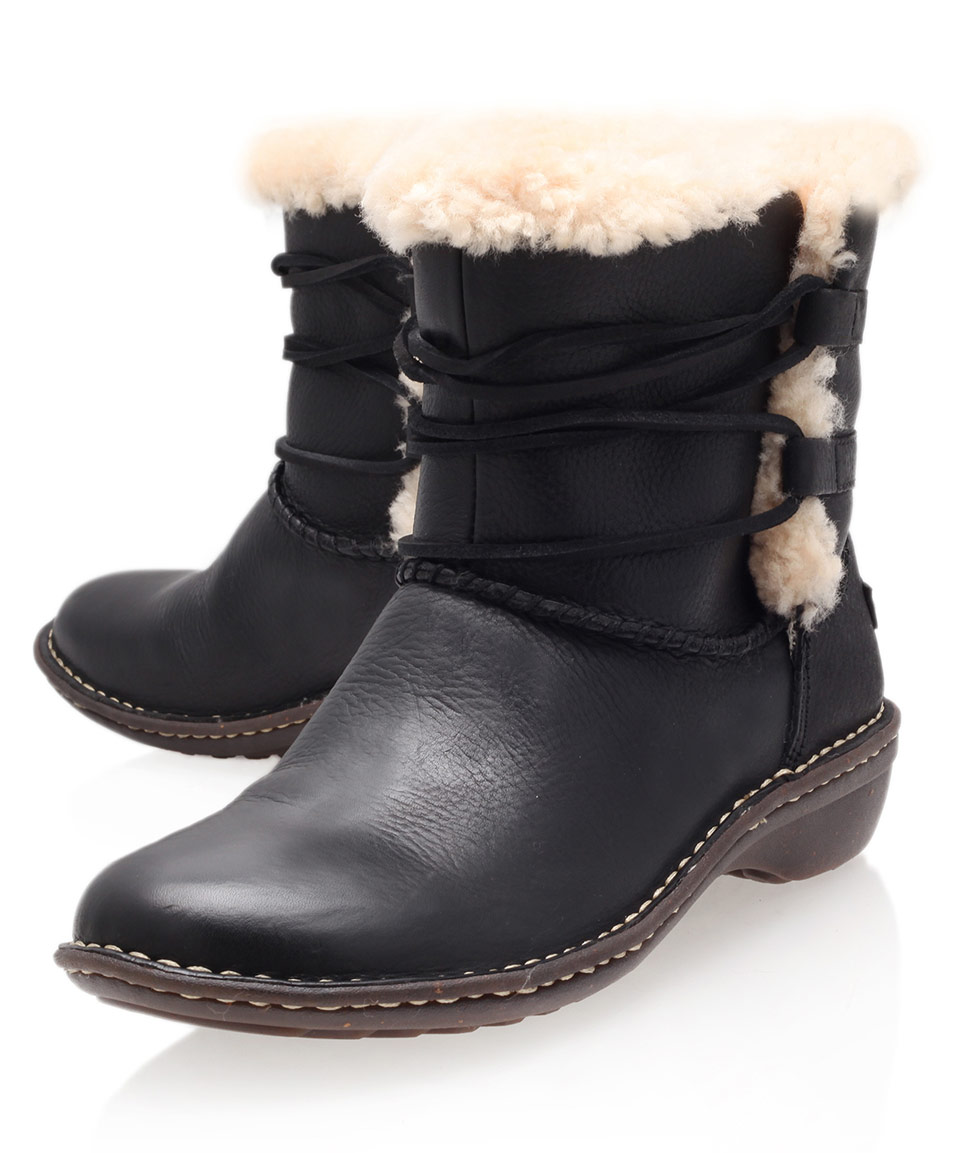 ugg black rianne leather ankle boots in black lyst