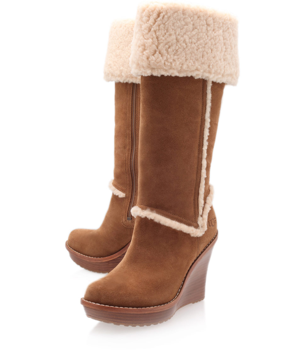 ugg chestnut aubrie wedge boots in brown chestnut lyst
