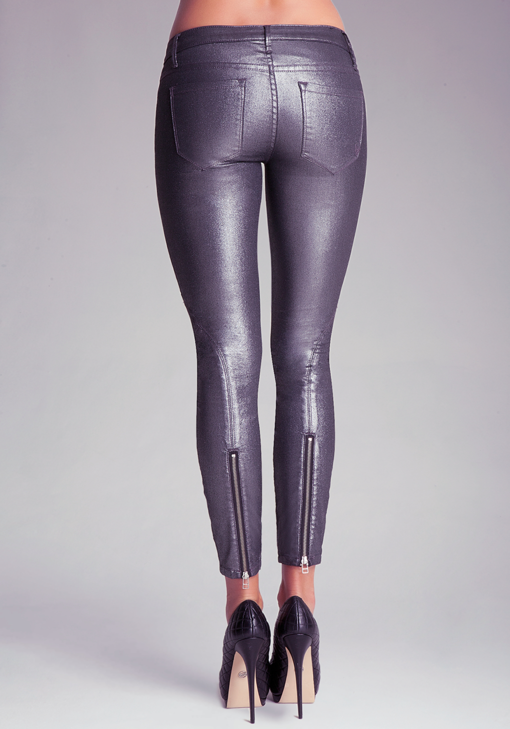 Bebe Multi Zip Detail Skinny Jeans In Metallic Lyst