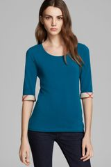 Burberry Brit Three Quarter Sleeve Check Tee - Lyst