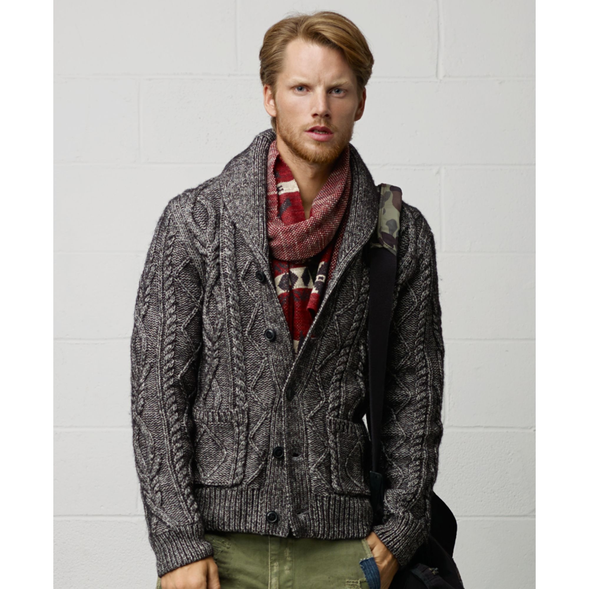 Denim & supply ralph lauren Shawl Collar Cable Knit Cardigan in ...