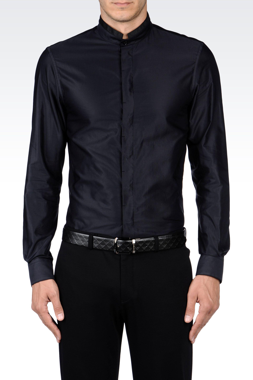 Emporio armani slim fit mandarin collar shirt in poplin in for Chinese collar shirts for men