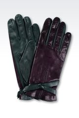 Emporio Armani Twocolor Gloves in Nappa Leather with Bow - Lyst