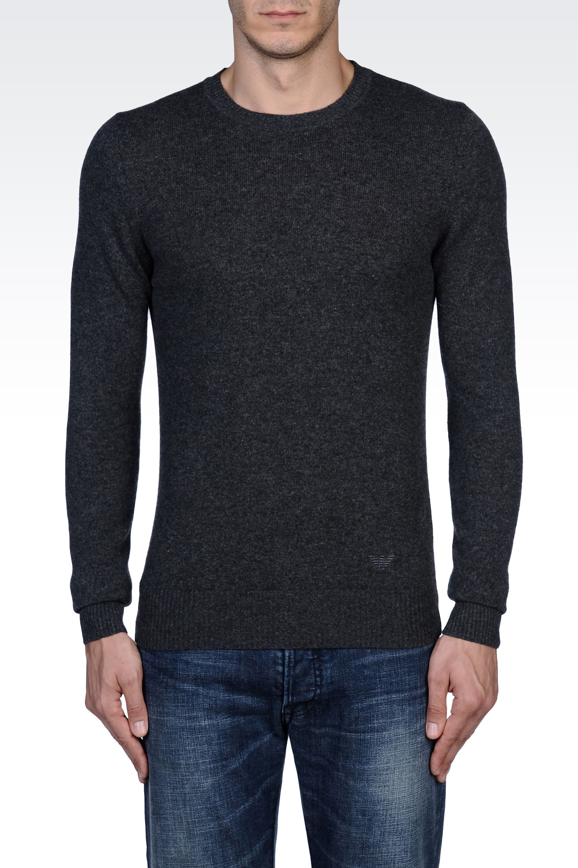 emporio armani sweater in cashmere in gray for men lyst. Black Bedroom Furniture Sets. Home Design Ideas