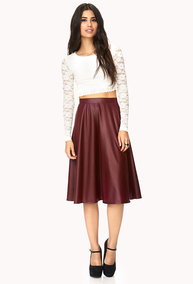 Forever 21 Street-chic Faux Leather Midi Skirt in Red | Lyst