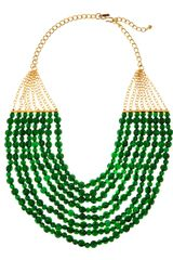Kenneth Jay Lane Eight Strand Green Bead Bib Necklace - Lyst