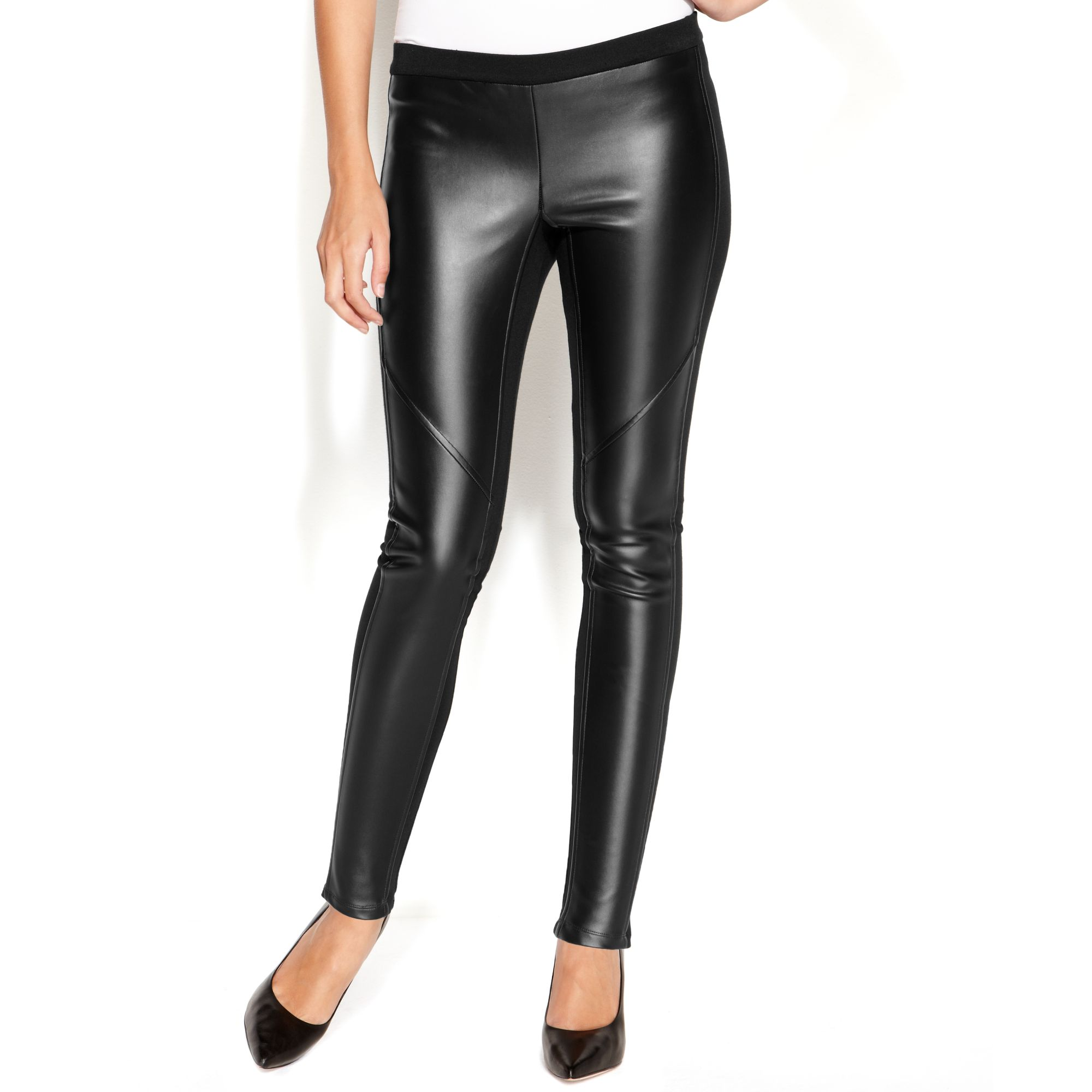 Black Faux Leather Leggings - Trendy Clothes