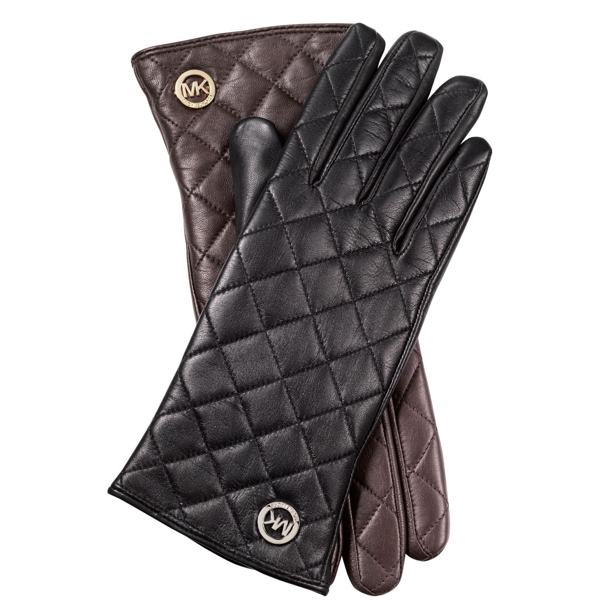 michael kors quilted leather gloves in black black pol