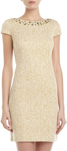 Muse Rhinestoneneck Tweed Dress Goldnatural - Lyst