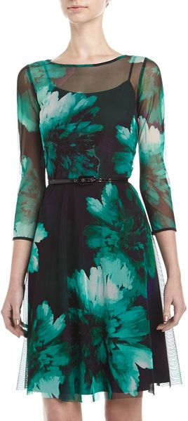 Muse Floralprint Mesh Belted Dress Teal - Lyst