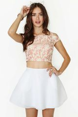 Nasty Gal Amora Brocade Crop Top - Lyst