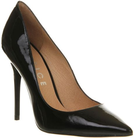 office on top pointed court shoes in black black patent