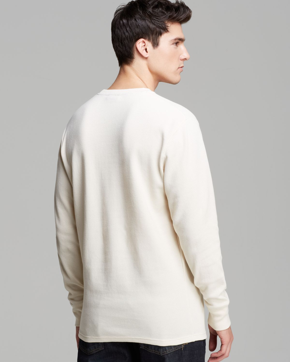Polo ralph lauren Long Sleeve Crewneck Waffle Shirt in Natural for ...