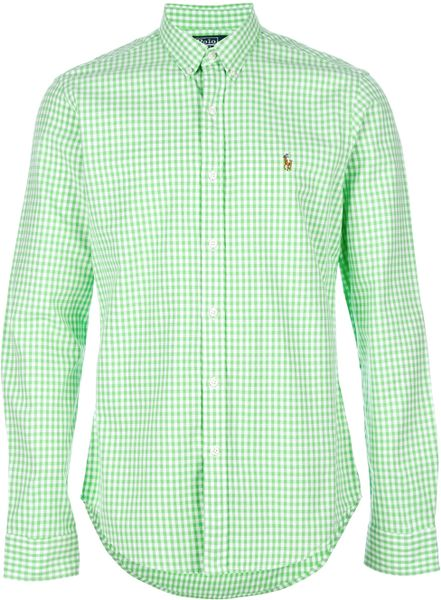 Polo ralph lauren gingham shirt in green for men lyst for Mens green gingham dress shirt