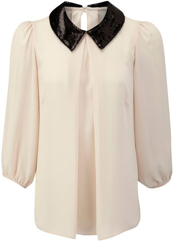 Skopes Sequin Collar Blouse - Lyst