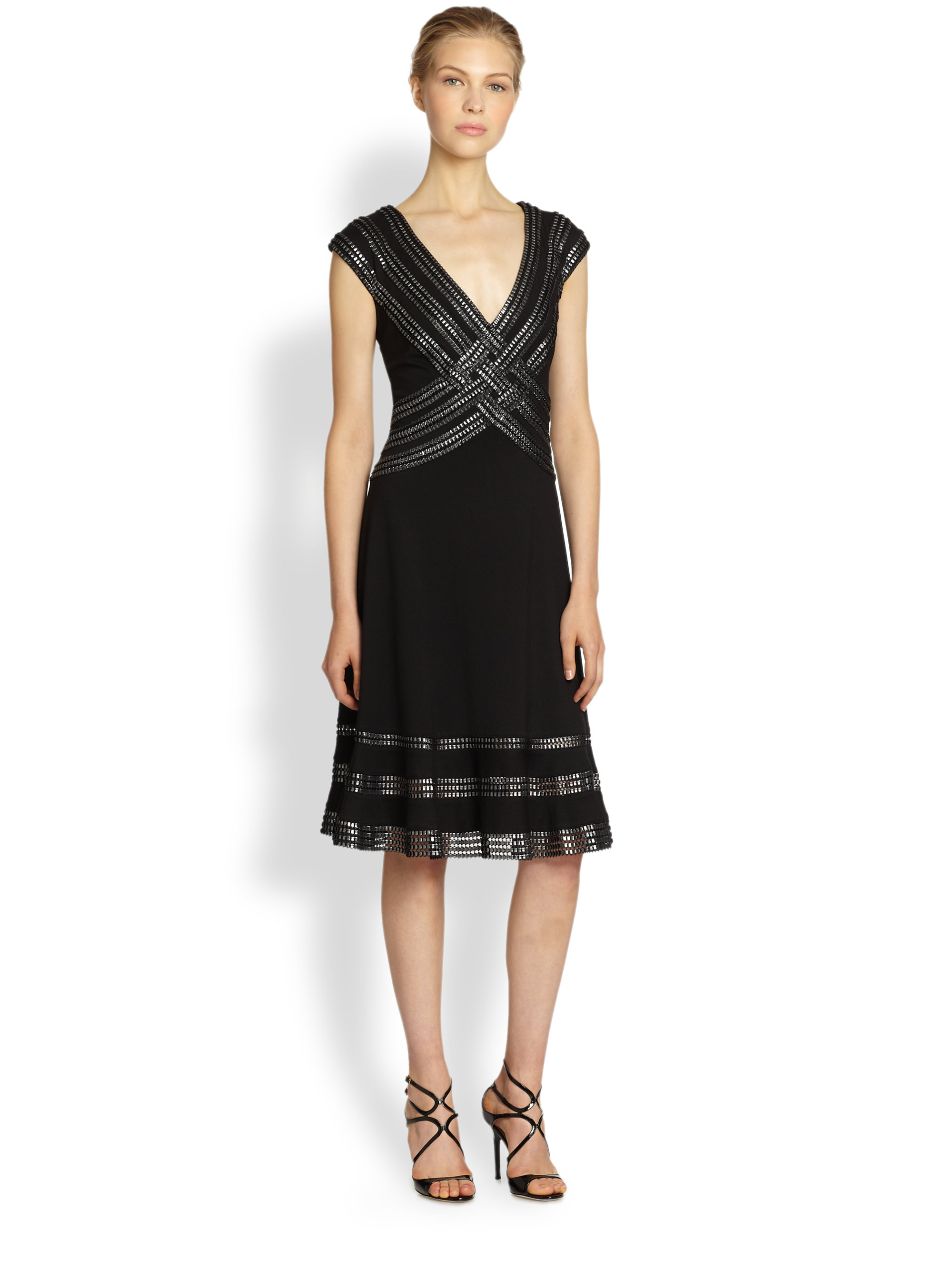 Tadashi shoji Ribbontrimmed Cocktail Dress in Black | Lyst