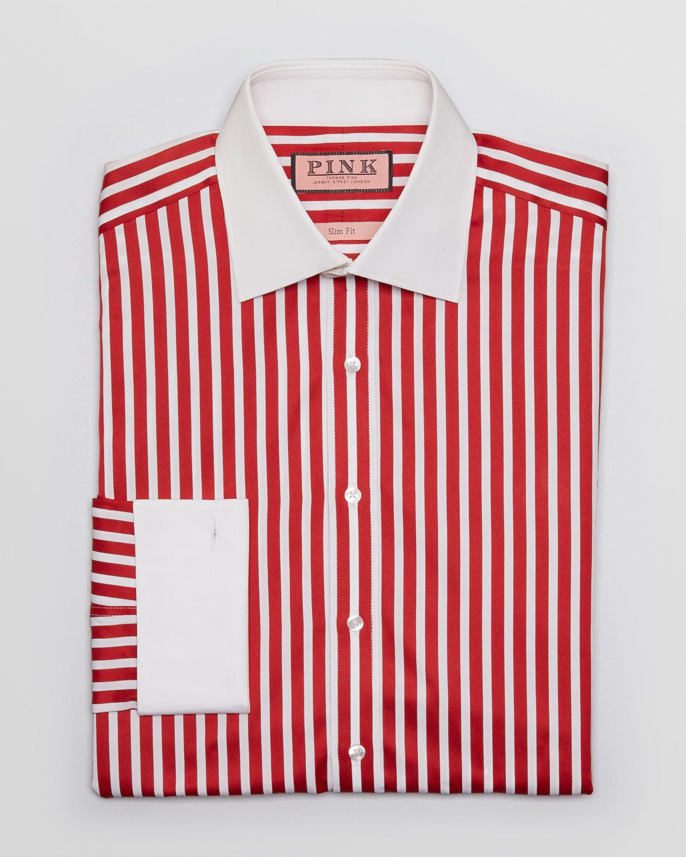 Red Stripe White Collar Dress Shirt Bcd Tofu House