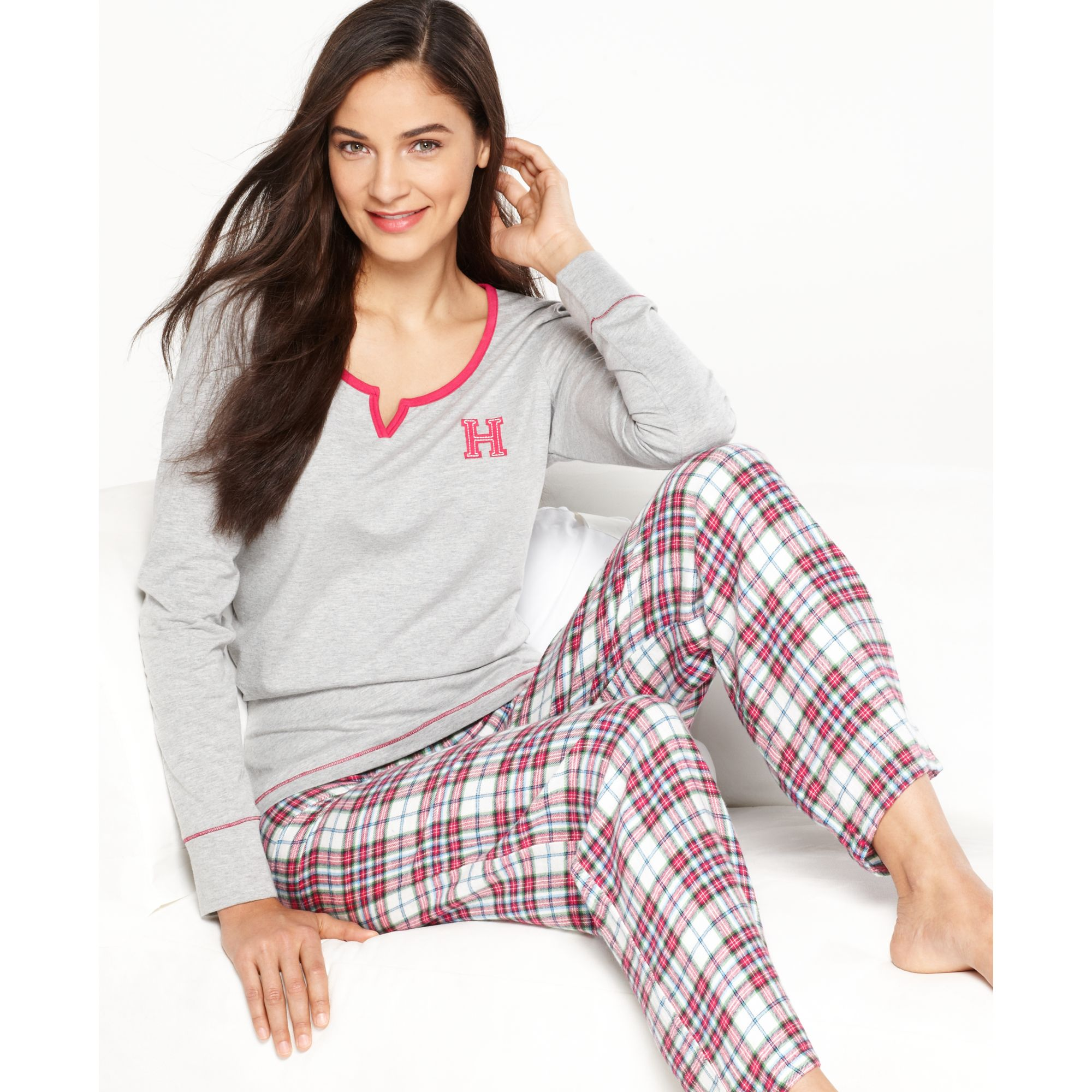 f5ea8d09 Tommy Hilfiger Top And Flannel Pajama Pants Set in Pink - Lyst