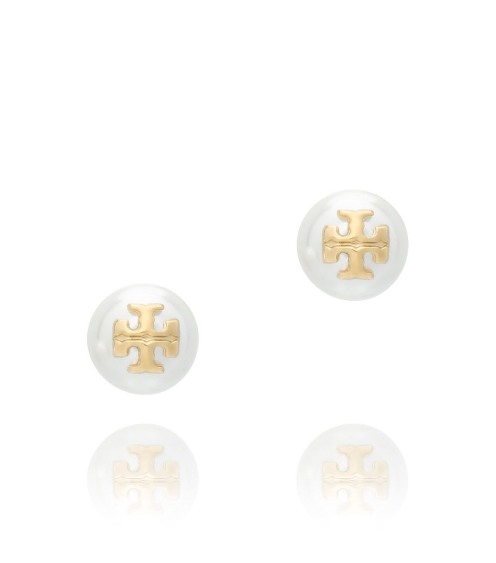 burch evie stud earring in white ivory pearl shiny