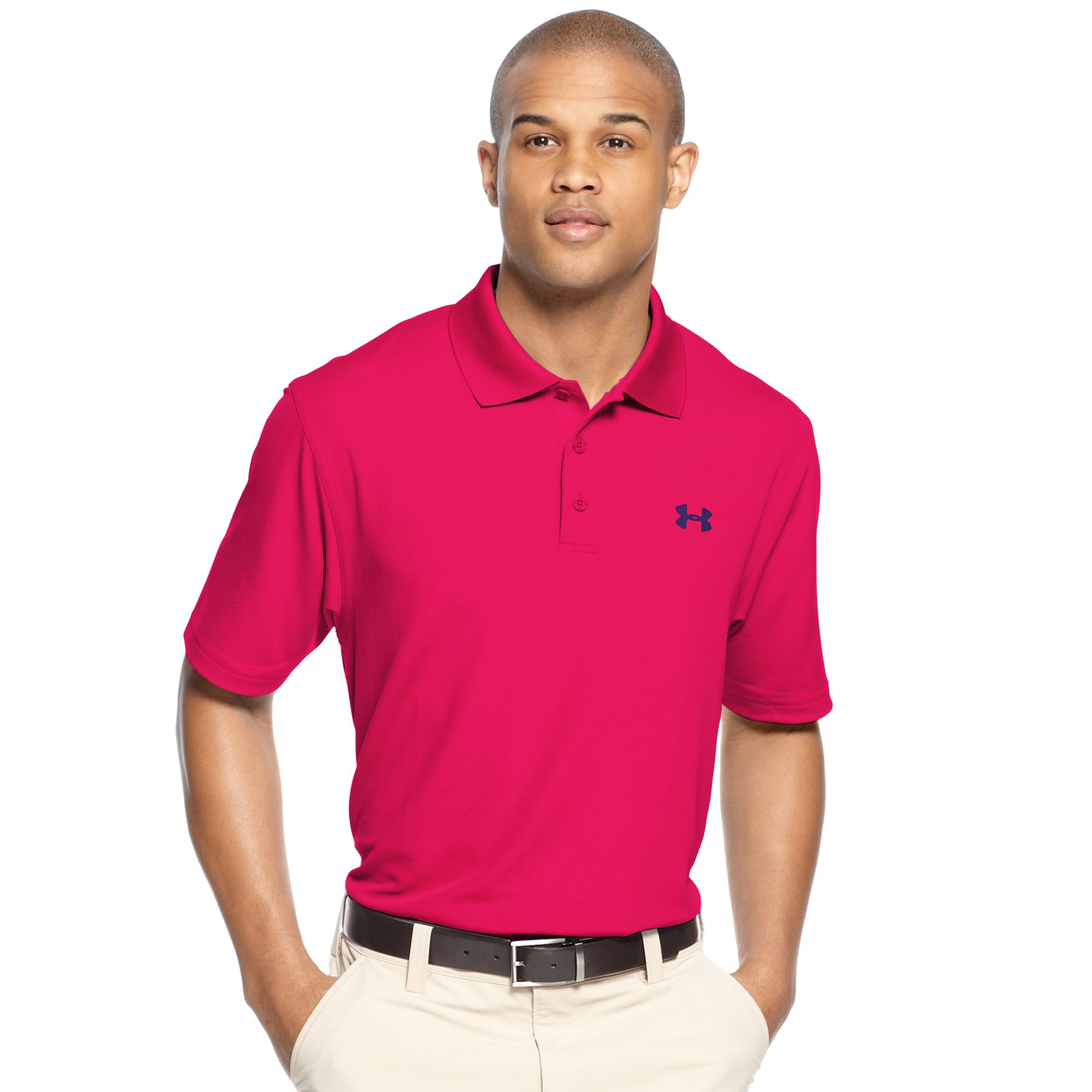 Lyst under armour ua performance polo in purple for men for Under armour heat gear button down shirt