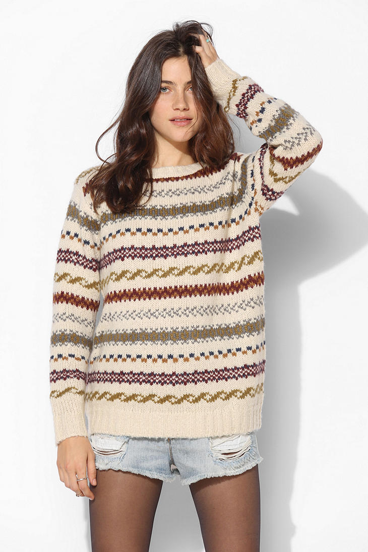 Urban outfitters Coincidence Chance Fair Isle Sweater in Natural ...