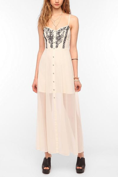 Urban Outfitters Ecote Willow Embroidered Maxi Dress in White   Lyst