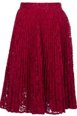 Valentino Pleated Lace Skirt - Lyst