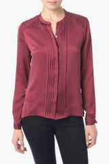 7 For All Mankind Pleated Placket Blouse - Lyst