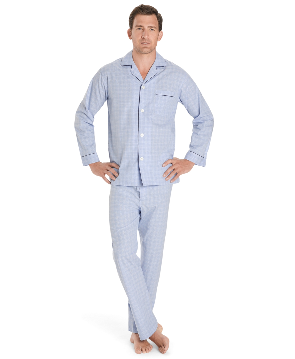 Brooks brothers Glen Plaid Pajamas in Blue for Men