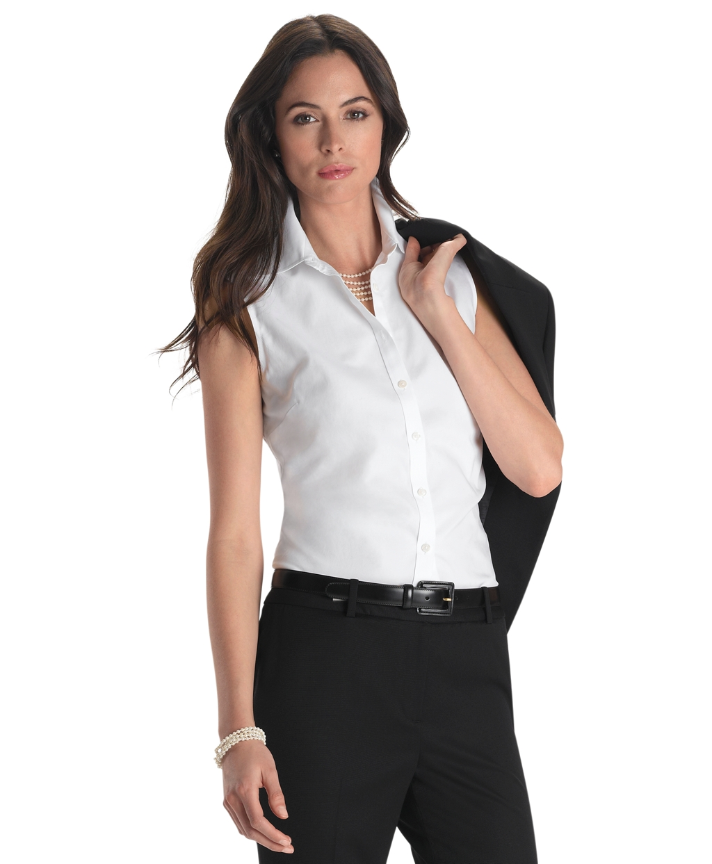 Women'S Fitted White Blouse 58