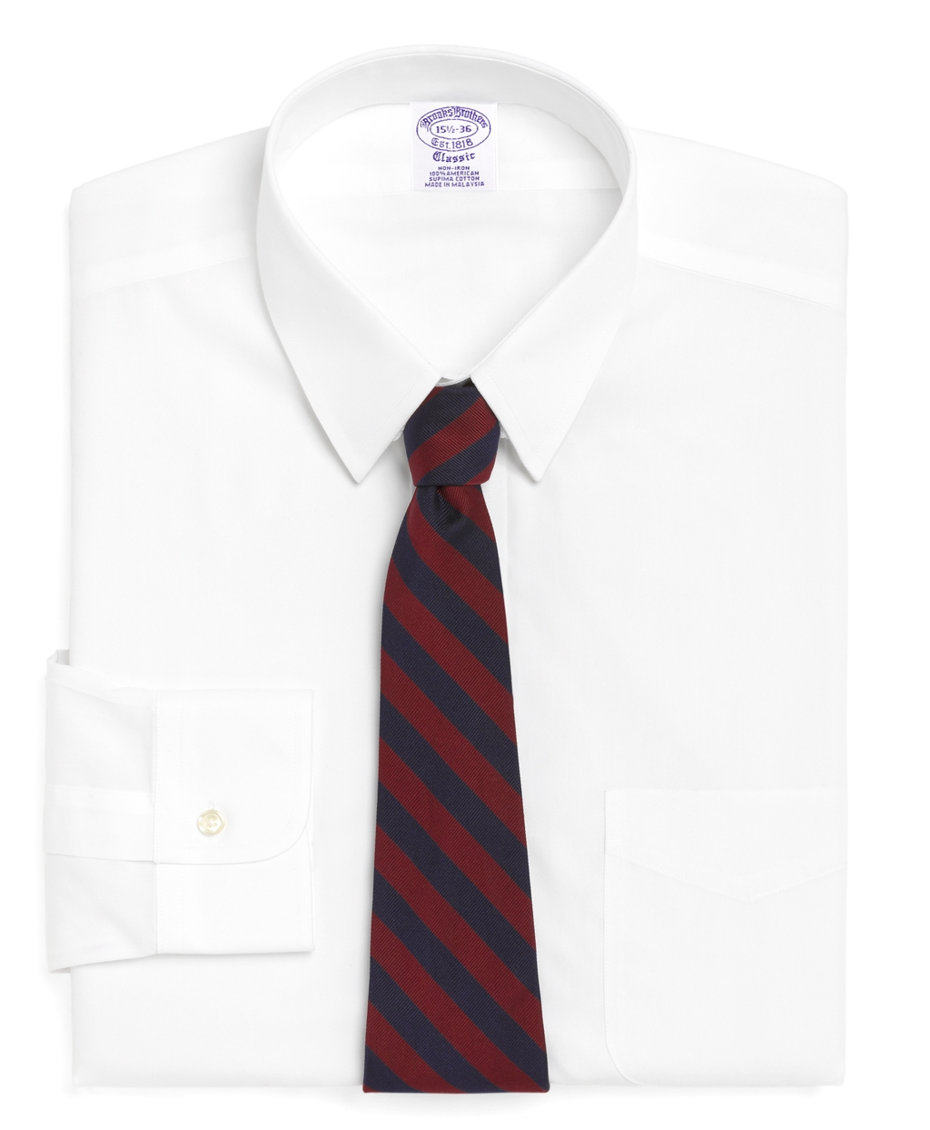 Brooks brothers non iron madison fit tab collar dress for White non iron dress shirts