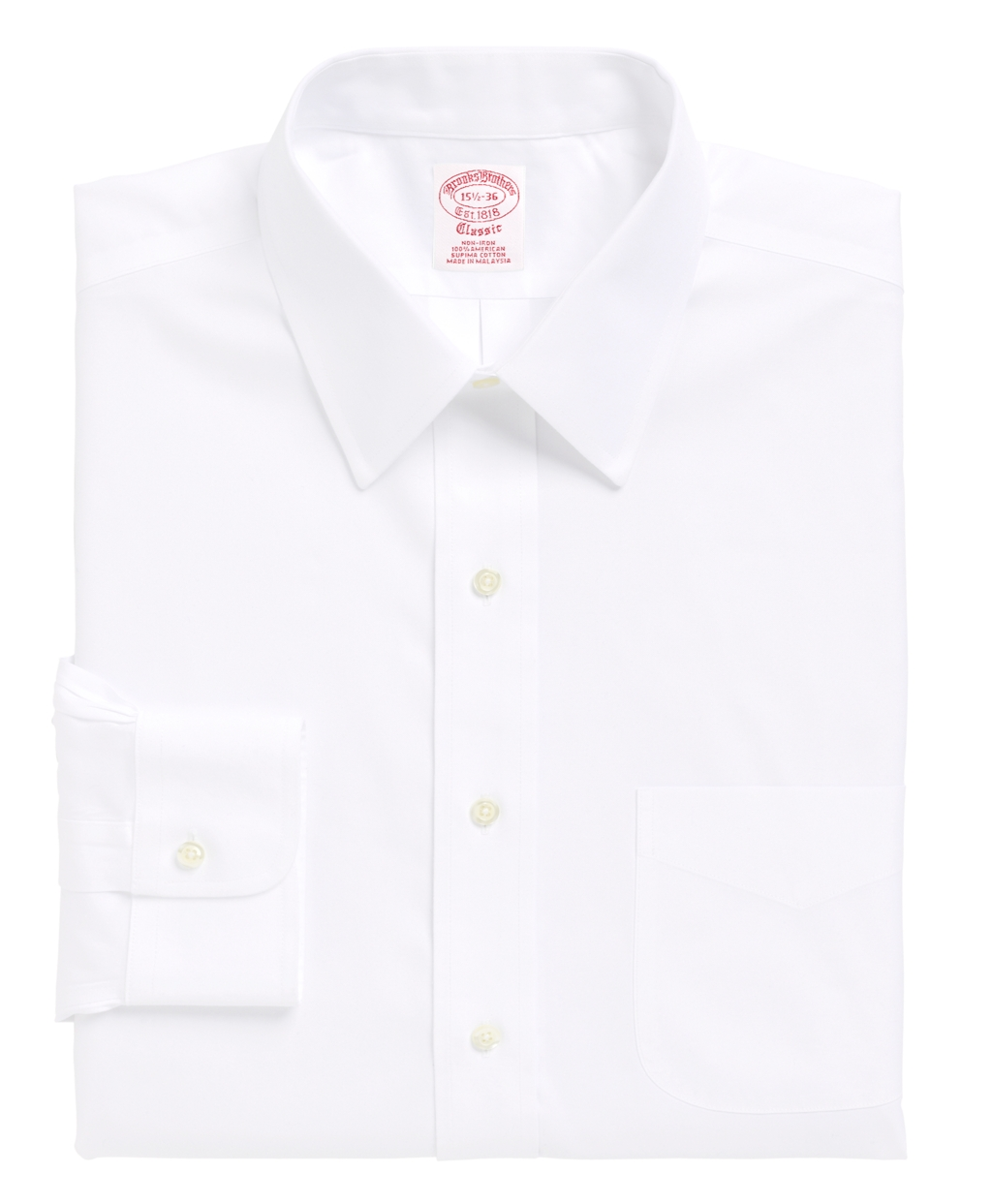 Brooks brothers non iron traditional fit point collar for White non iron dress shirts