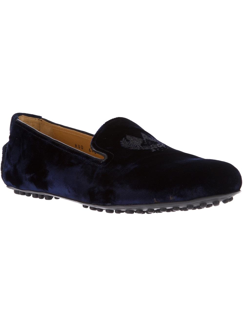 Car Shoe Velvet Logo Emblem Slipper In Blue For Men Lyst