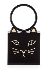 Charlotte Olympia Kitty Square Acrylic Box Clutch Black - Lyst