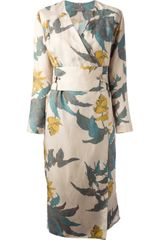 Christophe Lemaire Floral Wrap Dress - Lyst