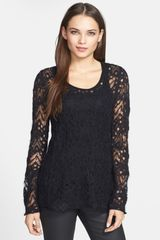 Eileen Fisher Lace Crochet Knit Sweater - Lyst