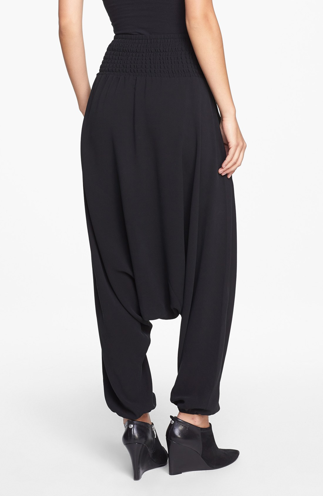 Eileen Fisher Black Silk Georgette Crepe Smocked Waist ...