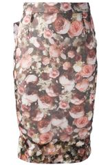 Givenchy Rose Print Skirt - Lyst