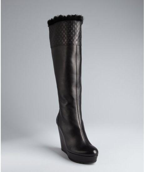 gucci black leather courteney platform wedge boots in