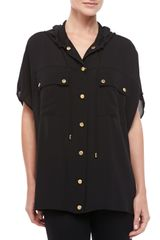 Michael Kors Hooded Oversized Silk Blouse - Lyst
