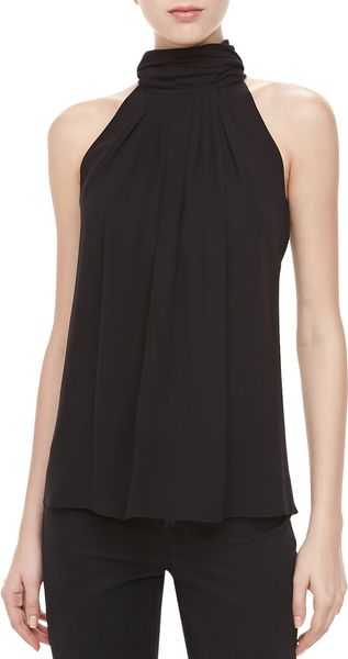 Michael Kors Silk Georgette Pleated Top Black - Lyst