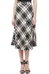 Michael Kors Fairfax Plaid Aline Skirt Blackivory - Lyst